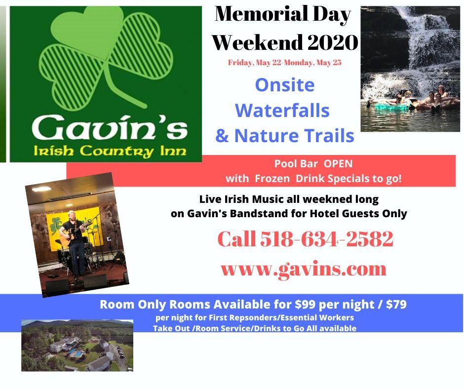 $99 per night rooms....Memorial Day Weekend 2020 @ gavin's irish country inn