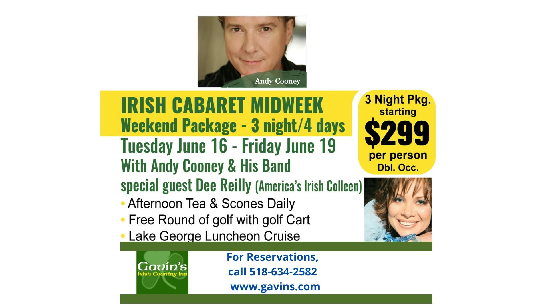 Andy Cooney's Irish Cabaret Midweek with Dee Reilly (dated moved to now october)