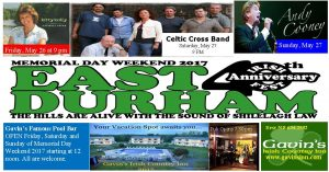 East Durham Irish Festival and Memorial Day Weekend