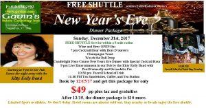 New Years Eve Dinner and FREE Shuttle Package @ Gavin's Irish Country Inn
