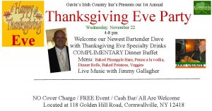 Thanksgiving Eve Party; FREE Dinner Buffet