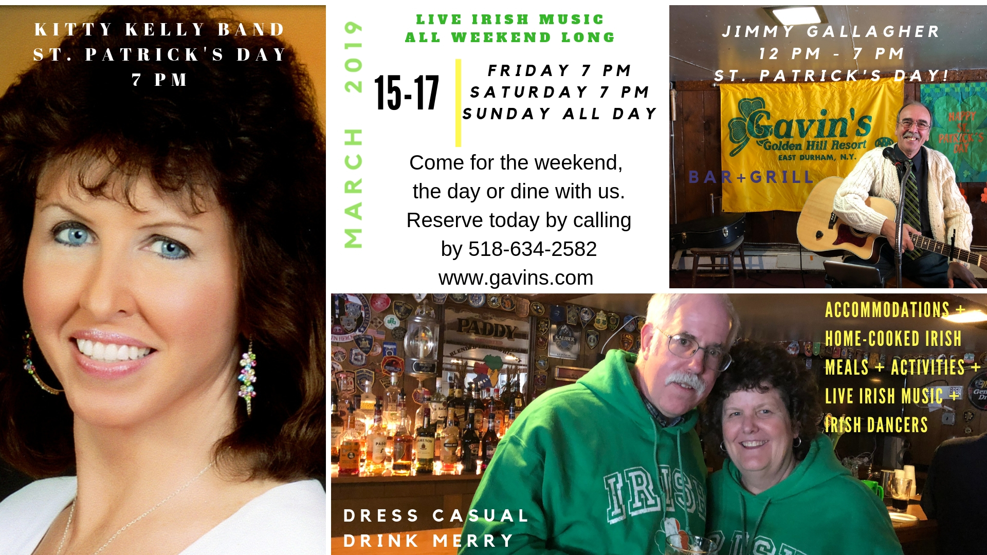 St. Patrick's Day Weekend; Book by 2/1/19 & Get $20 OFF pp