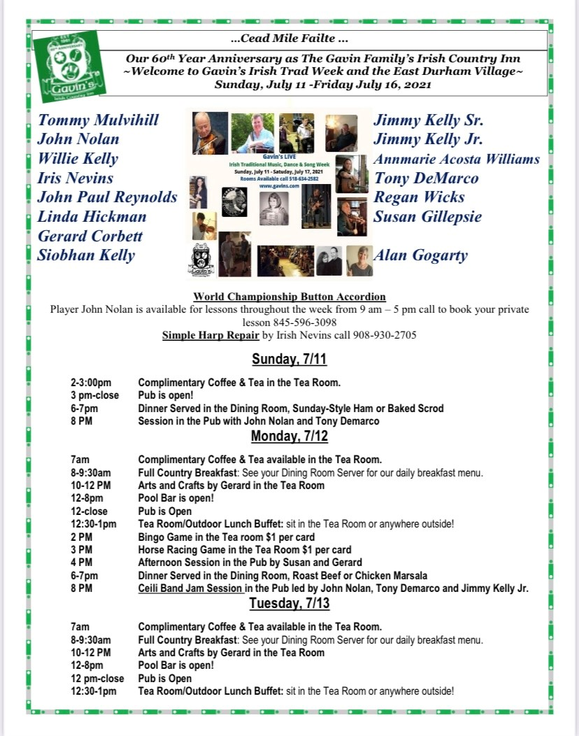 Trad Week: Irish Workshops for the Youth, Nightly Sessions at Gavins and throughout the East Durham Irish Village @ gavin's